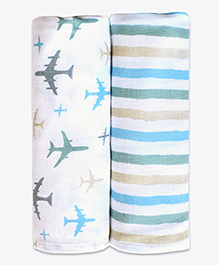 Masilo Linen For Littles Organic Cotton Muslin Swaddle Wrappers Aeroplane Print White Multicolour - Pack Of 2