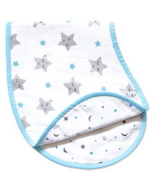 Masilo Linen For Littles Organic Cotton Muslin Burp Cloth Cum Bib Star Print - White Blue