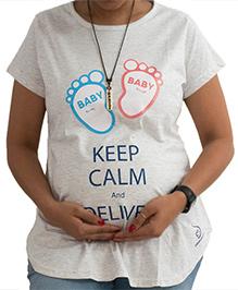 Sababa Miteri Short Sleeves Maternity Tee Keep Calm Print - Light Grey