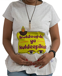 Sababa Miteri Short Sleeves Cotton Tee Kuldeepak Print - Off White