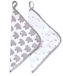 Masilo Linen For Littles Organic Cotton Wash Cloths Sheep Print White Grey - Pack Of 2