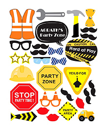 Party Propz Construction Theme Photobooth Props Multicolour - 32 Pieces