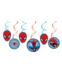 Party Propz Spiderman Themed Swirl Decoration Red & Blue - 6 Pieces