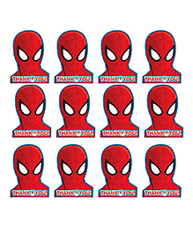 Party Propz Spiderman Themed Thank You Tags Red - 12 Pieces