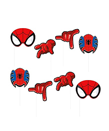 Party Propz Spiderman Themed Photo Booth Props Red - 8 Pieces
