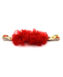 Magic Needles Netted Floral Motif Headband - Red