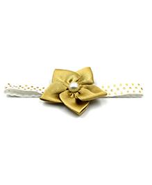 Magic Needles Flower & Polka Dots Design Headband - Beige