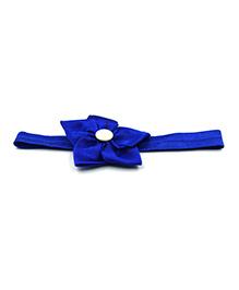 Magic Needles Headband With Satin Floral Motif - Dark Blue
