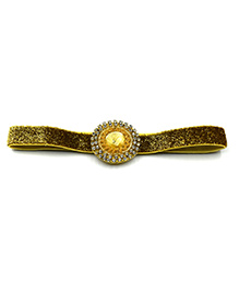 Magic Needles Headband With Studded Patch Work - Golden