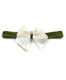 Magic Needles Glitter Headband With Bow - Green