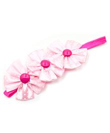 Magic Needles Polka Dots Flower Design Headband - Pink