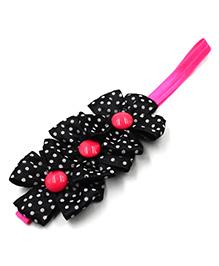 Magic Needles Elastic Headband With 3 Flowers - Black