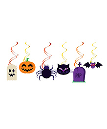 Party Propz Halloween Themed Swirl Decoration Multicolour - 6 Pieces