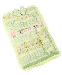 Strawberry & Rabbit Print Baby Bed Set Green - 3 Piece