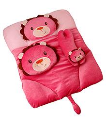 4 Piece Baby Bedding Set Lion Design - Dark Pink