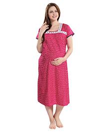 Piu Side Open Feeding Polka Dot Print Short Sleeves Maternity Nighty - Pink