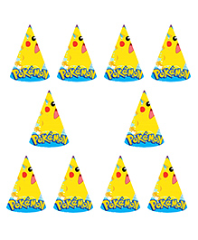 Party Propz Pokemon Themed Paper Caps Yellow - 10 Pieces