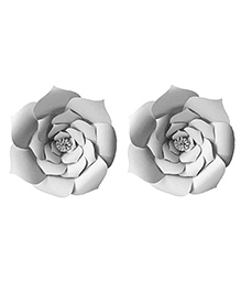 Party Propz Paper Flower Rose For Party Decoration Grey - Set Of 2 Pieces