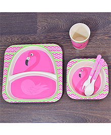 Quirky Monkey Eco-Friendly Bamboo Dining Set Of 5 Flamingo Theme - Pink