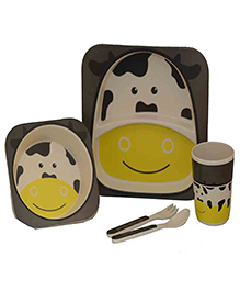 Quirky Monkey Eco Friendly Bamboo Cow Theme Dinner Set Of 5 - Grey & White