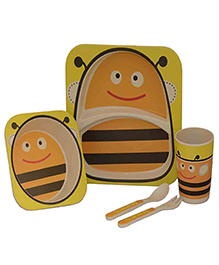 Quirky Monkey Eco Friendly Bamboo Bees Theme Dinner Set Of 5 - Yellow & White