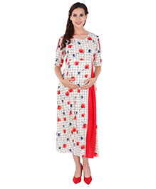 MomToBe Maternity Cold Shoulder Floral Print Dress - Beige Red - 2358727