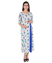 MomToBe Maternity Half Sleeves Floral Print Dress - Beige Blue