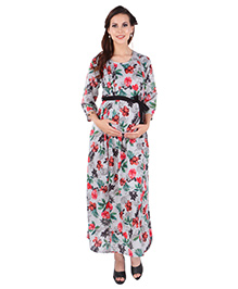 MomToBe Maternity Three Fourth Sleeves Floral Print Dress - Grey Green Red