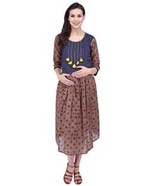 MomToBe Three Fourth Sleeves Maternity Dress - Blue Brown