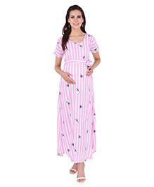 MomToBe Half Sleeves Striped & Doggy Print Maternity Dress - Pink White