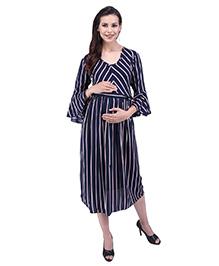 MomToBe 3/4th Bell Sleeves Maternity Dress - Blue