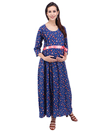 MomToBe Three Fourth Sleeves Maternity Dress - Blue