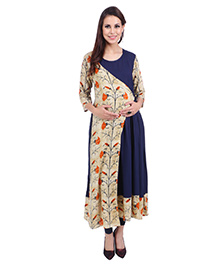 MomToBe Three Fourth Sleeves Maternity Kurti Floral Print - Navy