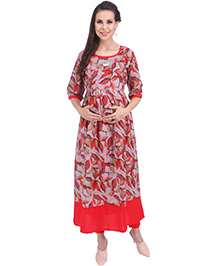 MomToBe Three Fourth Sleeves Maternity Kurti - Crimson Red & Grey
