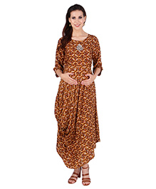 MomToBe Three Fourth Sleeves Maternity Kurti - Yellow & Brown