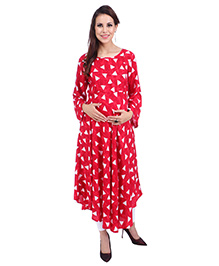 MomToBe Three Fourth Sleeves Maternity Kurti Geometric Print - Candy Red