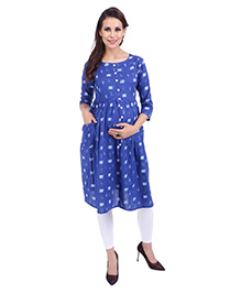MomToBe Three Fourth Sleeves Maternity Kurti - Blue - 2359211