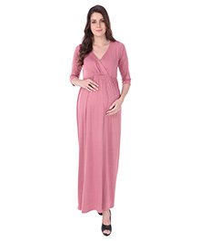 MomToBe Three Fourth Sleeves Maternity Dress - Pink