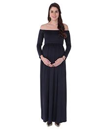 MomToBe Off Shoulder Full Sleeves Maternity Dress - Navy