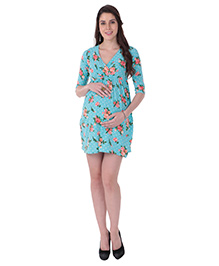 MomToBe Half Sleeves Maternity Dress Floral Print - Blue Peach