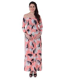 MomToBe Off Shoulder Maternity Dress Floral Print - Peach