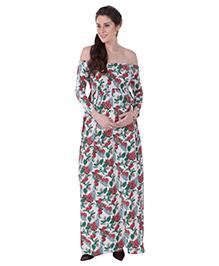 MomToBe Off Shoulder Floral Printed Maternity Dress - White