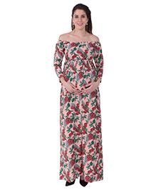 MomToBe Off Shoulder Floral Printed Maternity Dress - Pink