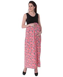 MomToBe Sleeveless Floral Printed Maternity Dress - Black Pink