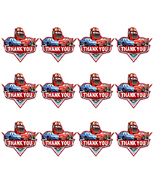 Party Propz Cars Themed Thank You Tag Set Of 12 - Red Blue