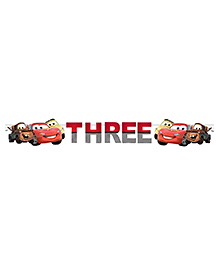 Party Propz Mcqueen Themed Age Three Party Banner - Red