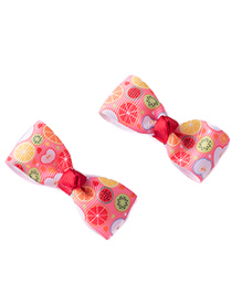 Ribbon Candy Fruits Bow Alligators Pack Of 2 - Peach & White