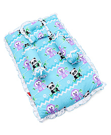 Fisher Price Mattress With Bolster & Pillow Panda & Monkey Print - Blue