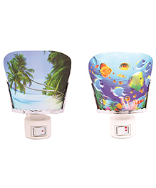 Skylofts EU Plug 3D Forest & Beach Design Night Lamp Pack Of 2 - Multicolor