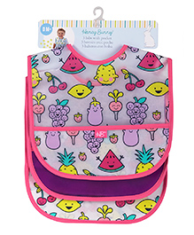 Honey Bunny Water Resistant Bib With Pocket Fruits Print Pack Of 3 - Pink
